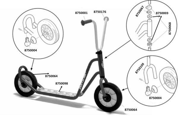 8600434 Ersatzteile für Winther MINI Roller mit 1 Hinterrad