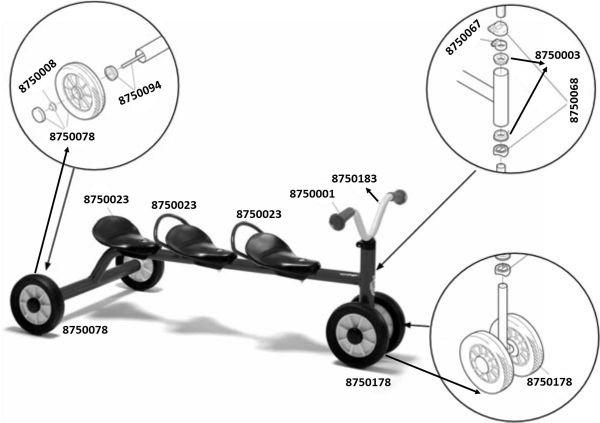 8600439 Ersatzteile für Winther MINI Rutsch Dreirad für drei