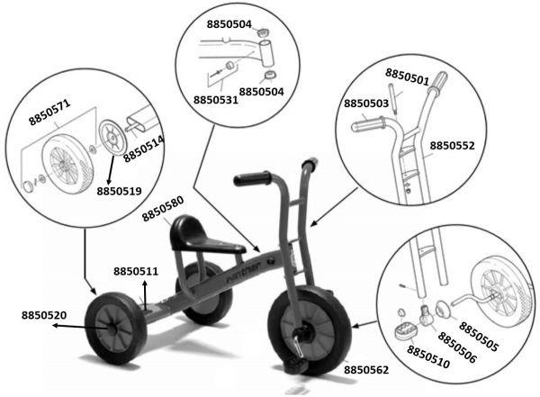 8900452 Ersatzteile für Winther Dreirad groß