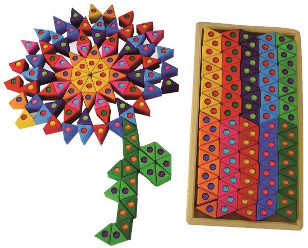 Bunte Dreiecke 100 Stck. mit Funkelsteinen Bauspiel