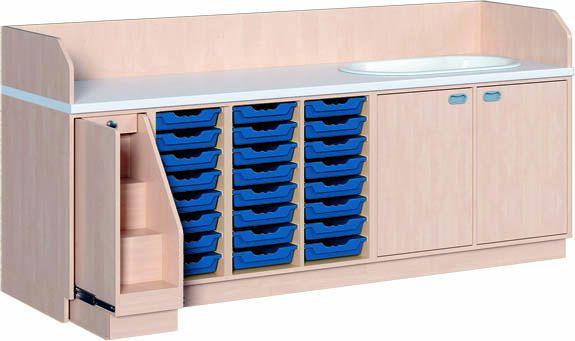 WIKO mit Treppe und Badewanne 249 cm, 91 cm tief, 24 Boxen/Tür