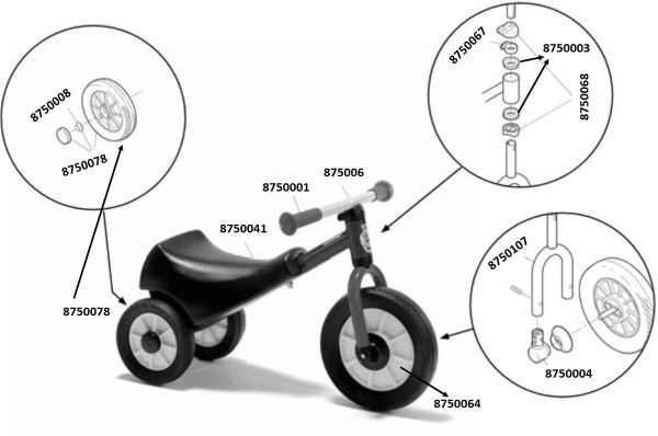 8600438 Ersatzteile für Winther Mini Scooter