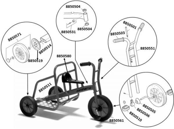 8900465 Ersatzteile für Winther Ben Hur Dreirad