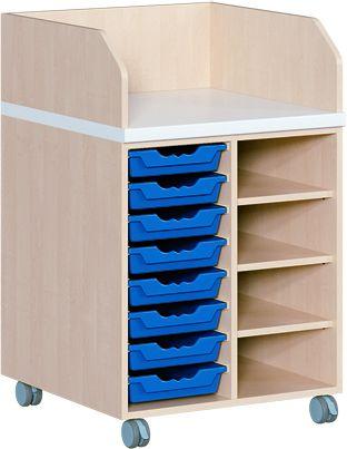 WIKO fahrbar 70,5 cm cm, 91 cm tief, mit Regal und 8 Boxen