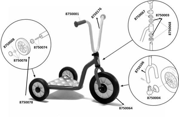 8600449 Ersatzteile für Winther Mini Dreirad Roller
