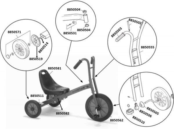 8900469 Ersatzteile für Winther Dreirad Maxi, verstellbarer Sattel