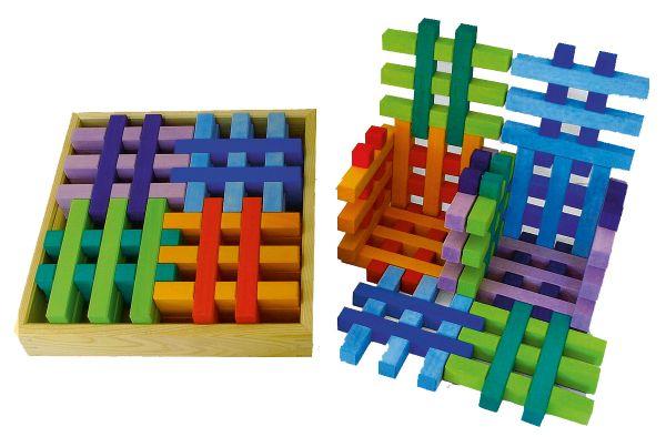 Gitterklötze im Holzkasten 12 Stück bunt Bauspiel