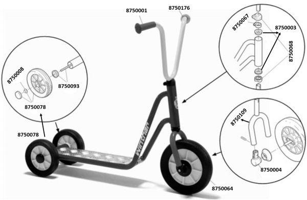 8600433 Ersatzteile für Winther MINI Roller mit 2 Hinterrädern