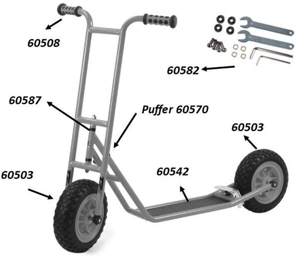 """64020 Ersatzteile für Beleduc """"Roller, klein"""" (mit Bremse)"""