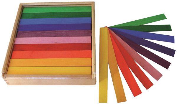 Bunte Brettchen 100 Stck. im Holzkasten Bauspiel