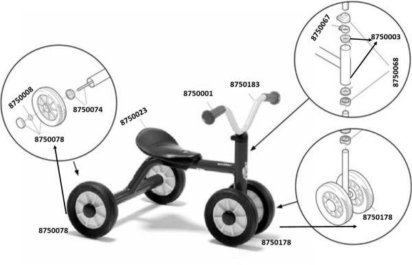 8600431 Ersatzteile für Winther MINI Rutsch Dreirad