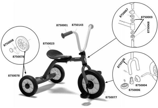 8600442 Ersatzteile für Winther MINI Krippendreirad mit Steg verstellbarer Sitz
