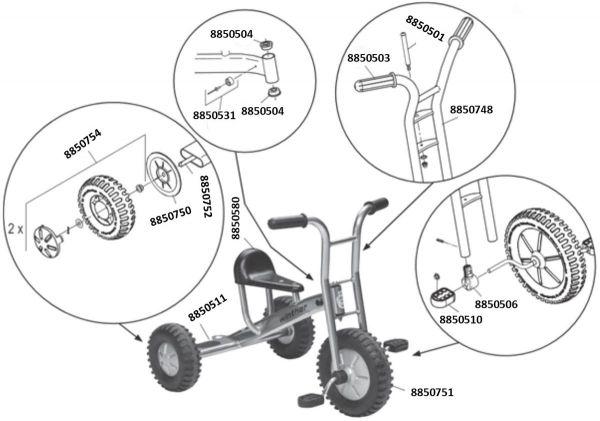 8445174 Ersatzteile für VIKING Winther Dreirad mittel Off-Road
