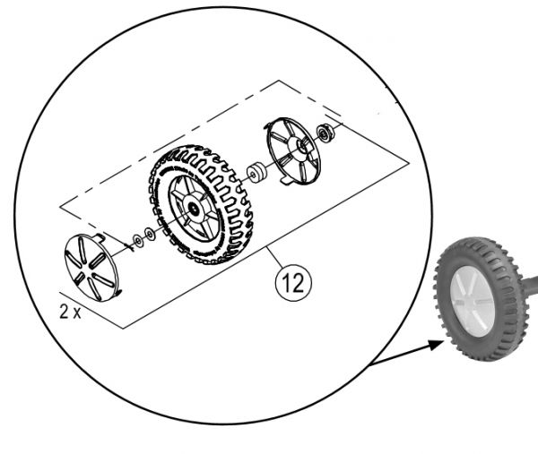 """8850830 Hinterachse für FunRacer mit """"PU-Reifen"""" 480"""