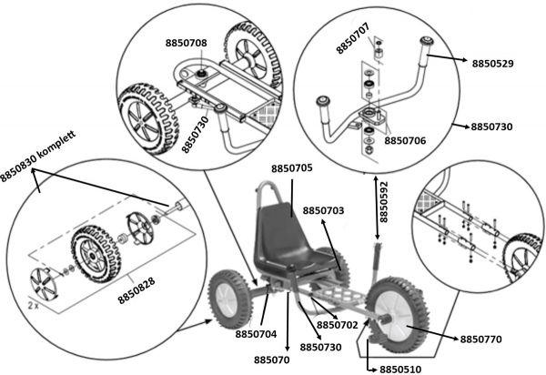8900480 Ersatzteile für Viking Winther FunRacer mit PU-Reifen