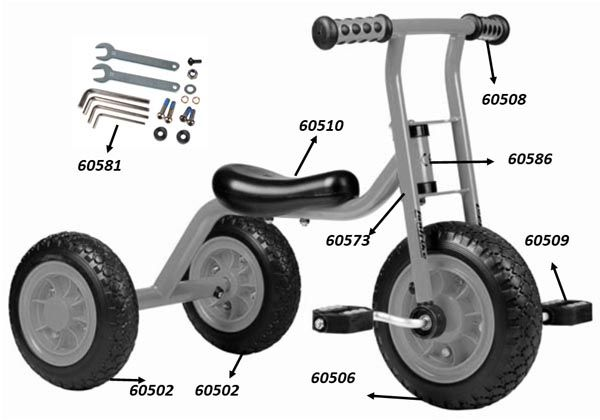 """64050 Ersatzteile für Beleduc Kleines Dreirad """"Small Trike"""""""