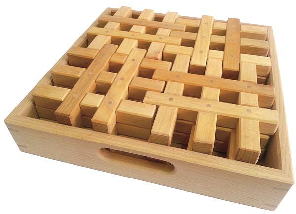 Gitterklötze im Holzkasten 12 Stück natur Bauspiel