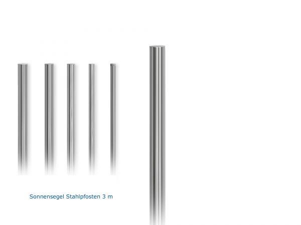 "Stahlpfosten Ständer feuerverzinkt Ø 3,0"" Zoll / 88,9 mm, 3,00 m lang inkl. Kunststoffabdeckung"