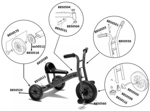 8900450 Ersatzteile für Winther Dreirad klein