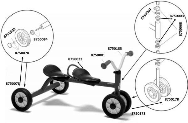 8600432 Ersatzteile für Winther MINI Rutsch Dreirad für zwei