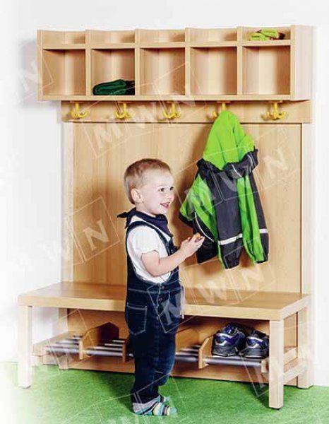 Komplettgarderobe einfache Ablagereihe, Rückwand und Alurost 4-7 Pl.