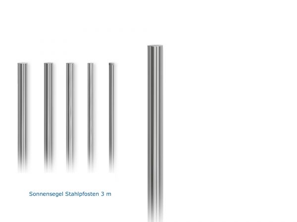 "Stahlpfosten Ständer feuerverzinkt Ø 2,5"" Zoll / 76,1mm, 3,00 m lang inkl. Kunststoffabdeckung"