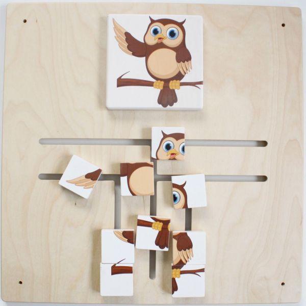 Wandspiel Lybyrinth-Puzzle Eule 48x48 cm